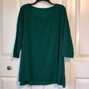 Plus Size Green Cotton 3/4 Sleeve Shirt